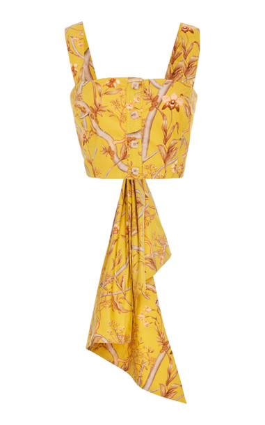 Johanna Ortiz Bow-Detailed Floral-Print Cotton-Poplin Top Size: 2 in yellow
