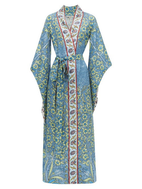 D'ascoli - Bodrum Floral Print Silk Faille Maxi Dress - Womens - Blue Multi