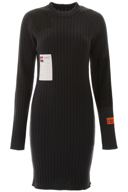 HERON PRESTON Ribbed Knit Dress in black