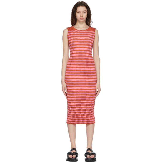 Issey Miyake Pink Striped Spongy Dress in orange