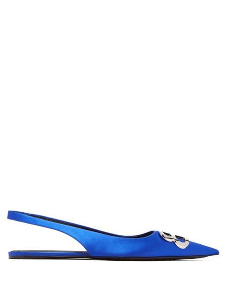 Balenciaga - Bb Satin Slingback Flats - Womens - Blue