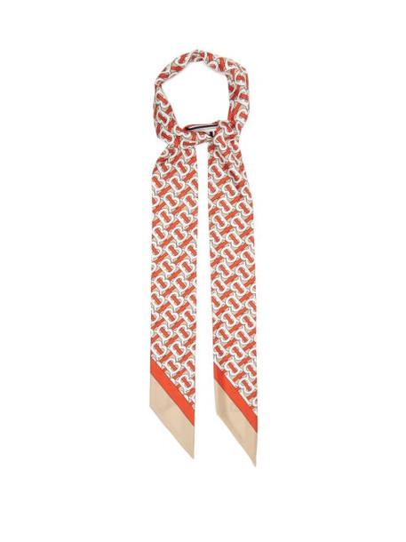 Burberry - Tb Logo-print Silk-faille Scarf - Womens - Red Multi