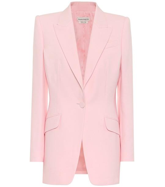 Alexander McQueen Wool and silk-blend blazer in pink