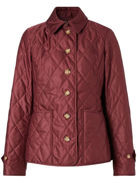 Burberry quilted fitted jacket in red