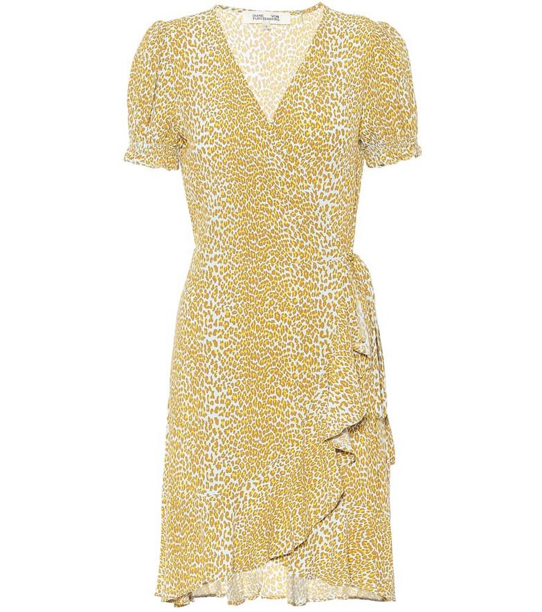 Diane von Furstenberg Emilia animal-print crêpe minidress in yellow