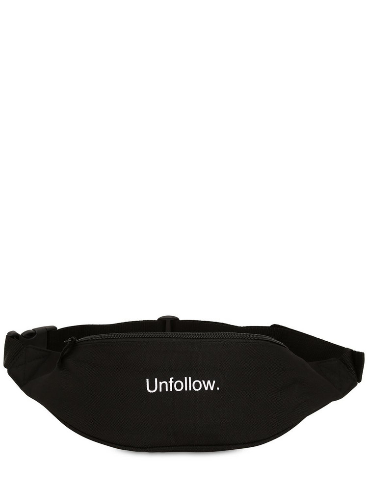 FAMT - FUCK ART MAKE TEES Unfollow Printed Techno Belt Bag in black