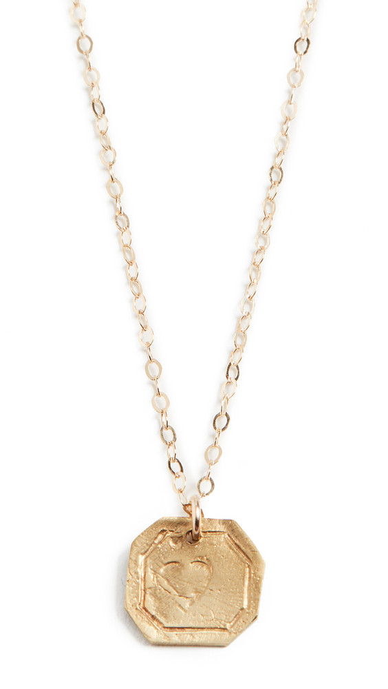 Maison Monik Heart Plate Necklace in gold