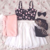 skirt,black wedges,black bow,lovely,mini skirt,short skirt,white,white skirt,tulle skirt,crop tops,floral,flowers,black,pink,sleeveless,sleeveless top,wedges,heels,bow,top,bottoms,cute,spring,summer,summer outfits,summer top,spring outfits,adorable outfit,cute outfits,cute top,cute skirt,cute bottoms