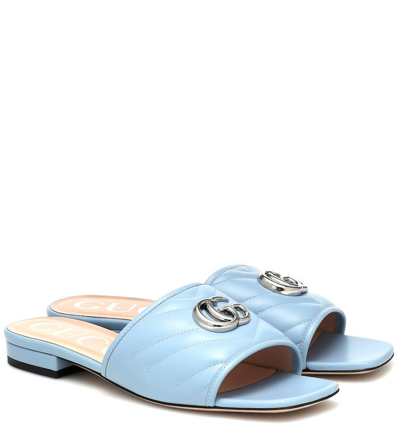 Gucci Double G leather slides in blue