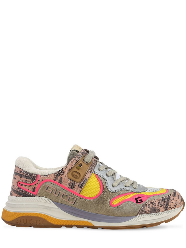 GUCCI 10mm Ultrapace Mesh & Suede Sneakers in pink / multi