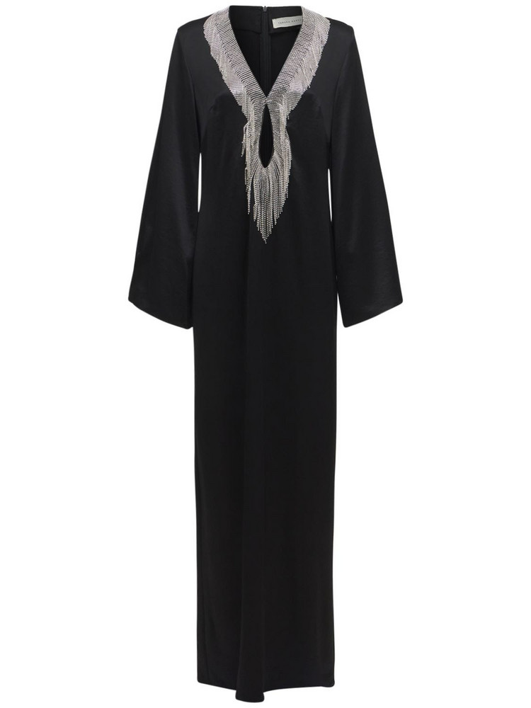 SANDRA MANSOUR Hand Embroidered Satin Long Dress in black