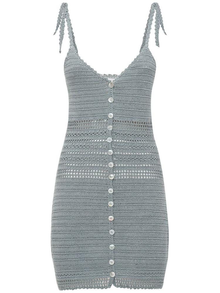 SHE MADE ME Zari Crocheted Mini Dress in blue