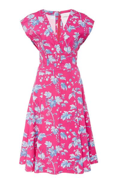 Carolina Herrera Vine Print Cotton Cap Sleeve V Neck Waisted Dress in pink