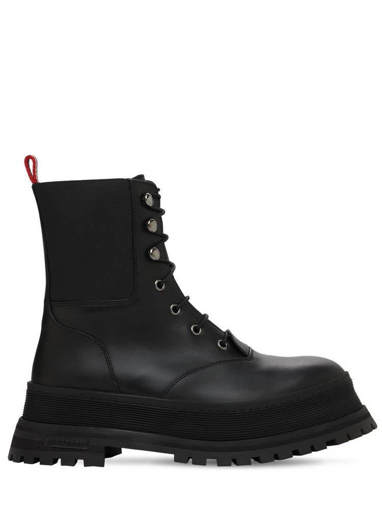 BURBERRY 30mm Springton Combat Leather Boots in black