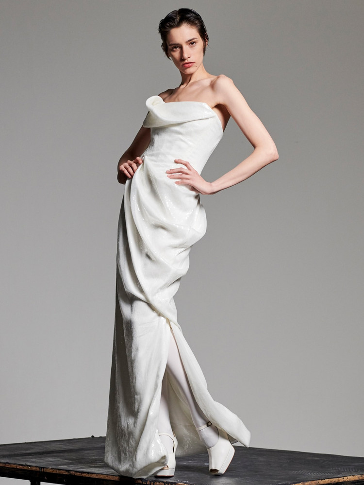 VIVIENNE WESTWOOD Strapless Sequined Dress in white