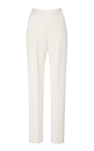 David Koma High-Waisted Crepe Pants Size: 8 in white