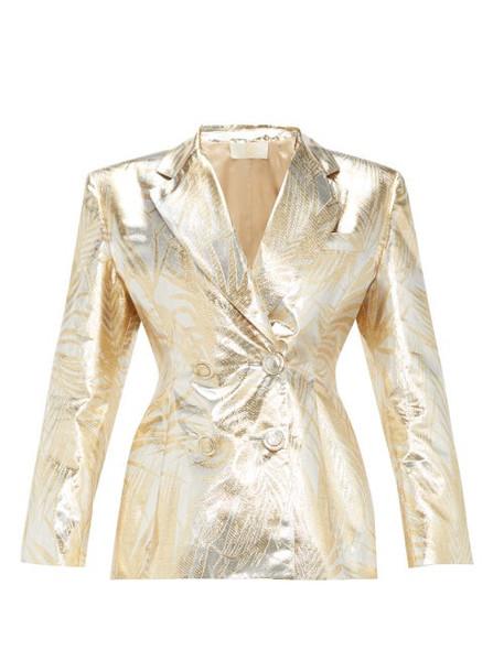 Sara Battaglia - Palm-leaf Brocade Double-breasted Suit Jacket - Womens - Gold Multi