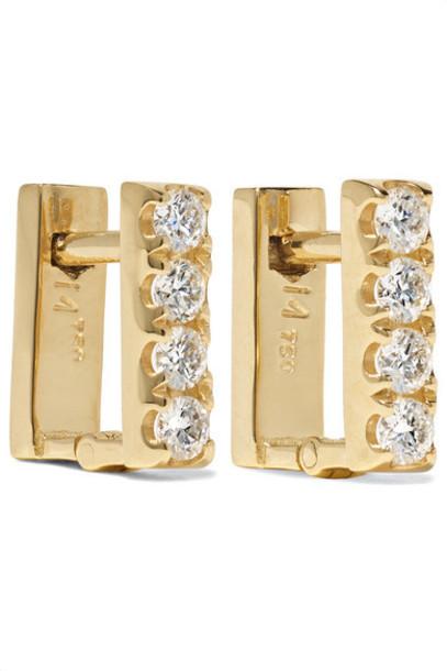 Ileana Makri - Mini Square 18-karat Gold Diamond Earrings