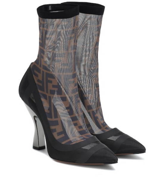 Fendi Satin ankle boots in black