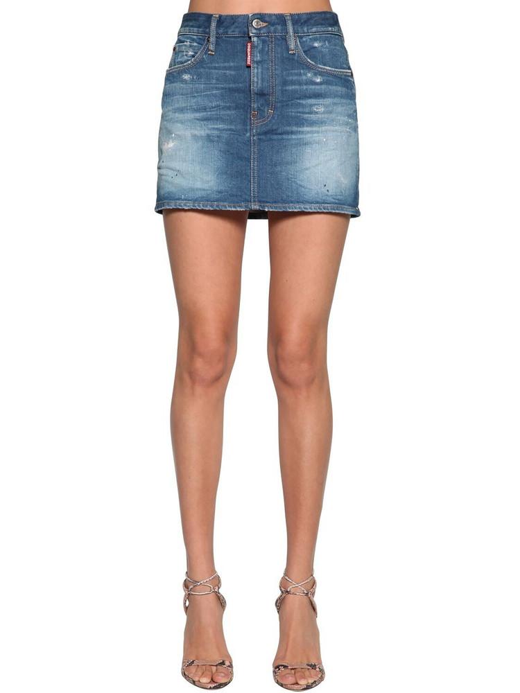 DSQUARED2 Cotton Denim Mini Skirt in blue