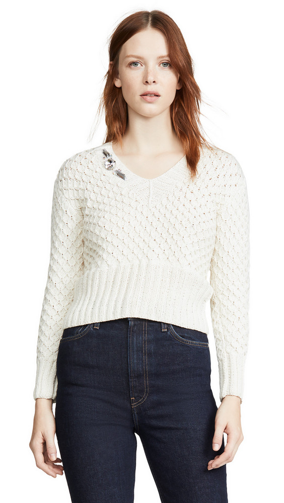 Michaela Buerger V Neck Cashmere Sweater in white