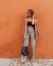 pants,high waisted pants,straight pants,blazer,bag,crop tops,sandal heels