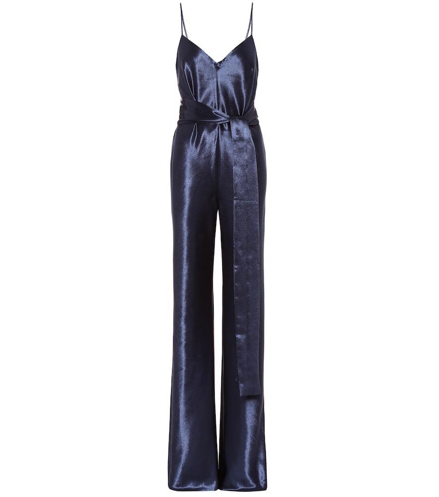 Galvan Slouchy satin jumpsuit in blue