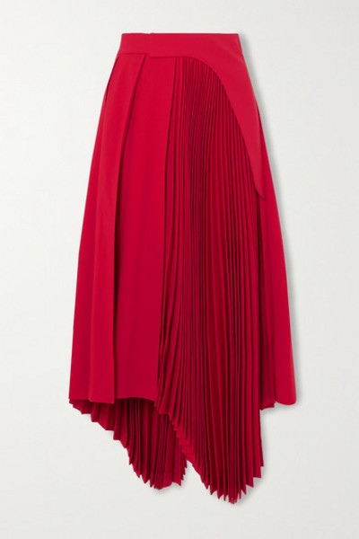 AMBUSH® AMBUSH® - Asymmetric Pleated Twill Midi Skirt - Red