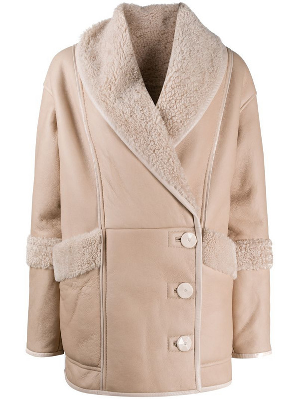 Drome single breasted shearling jacket in neutrals