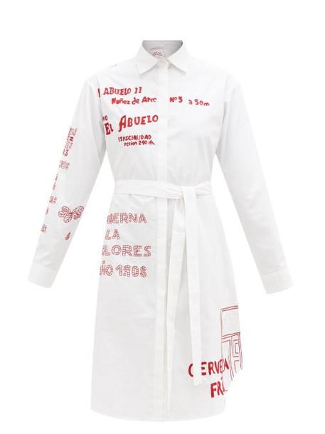 Kilometre Paris - Barrio De Las Letras Cotton Shirt Dress - Womens - White Multi