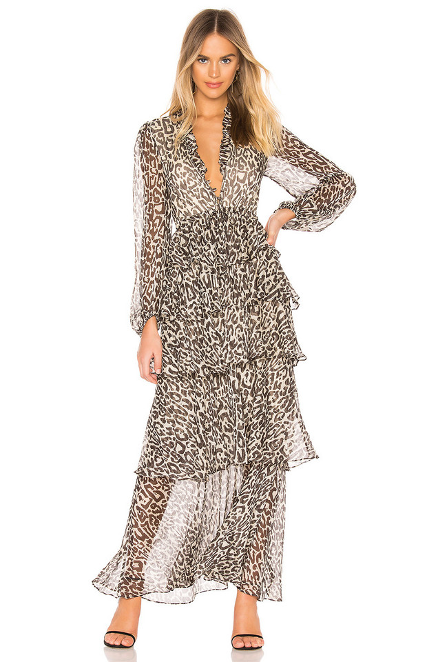 Shona Joy Mariposa Tiered Maxi Dress in black
