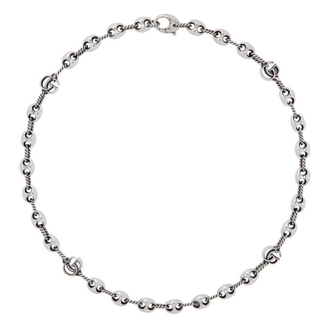Gucci Silver GG Marmont Marina Necklace in black