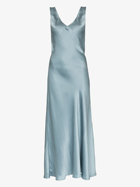 Asceno Bordeaux silk maxi dress in blue