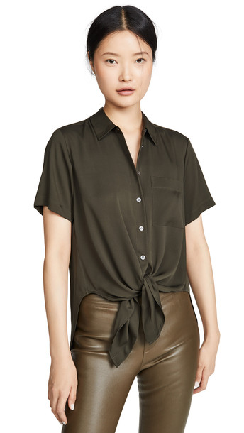 Theory Tie-Front Top in green