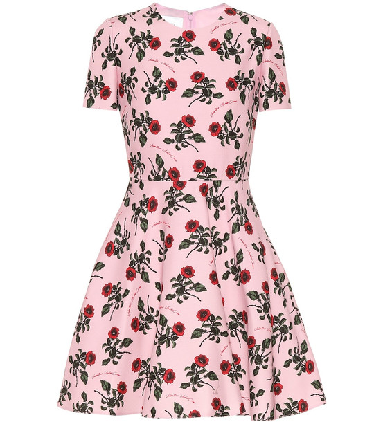 Valentino Floral silk and wool-blend dress in pink