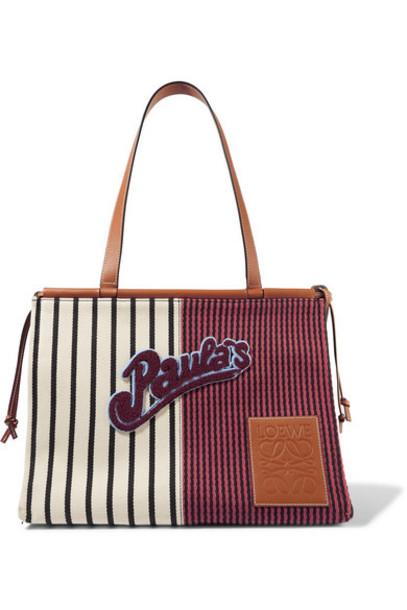 Loewe - Paula's Ibiza Cushion Medium Appliquéd Leather-trimmed Striped Canvas Tote - Red