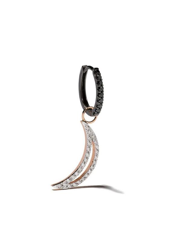Botier 18kt rose gold Moon Night oval diamond hoop earring
