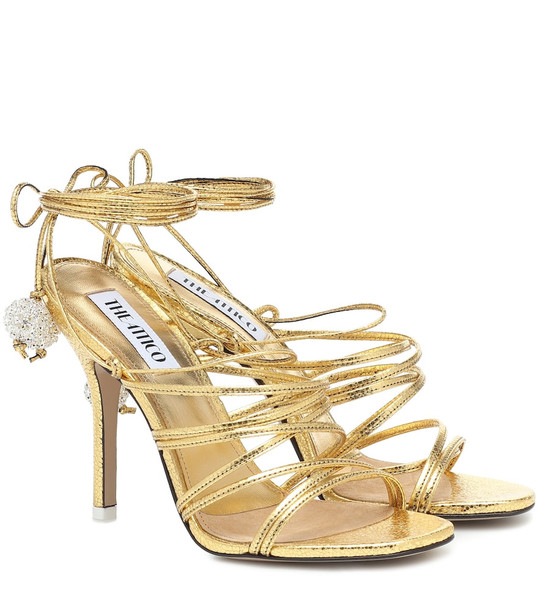 The Attico Embellished metallic leather sandals in gold