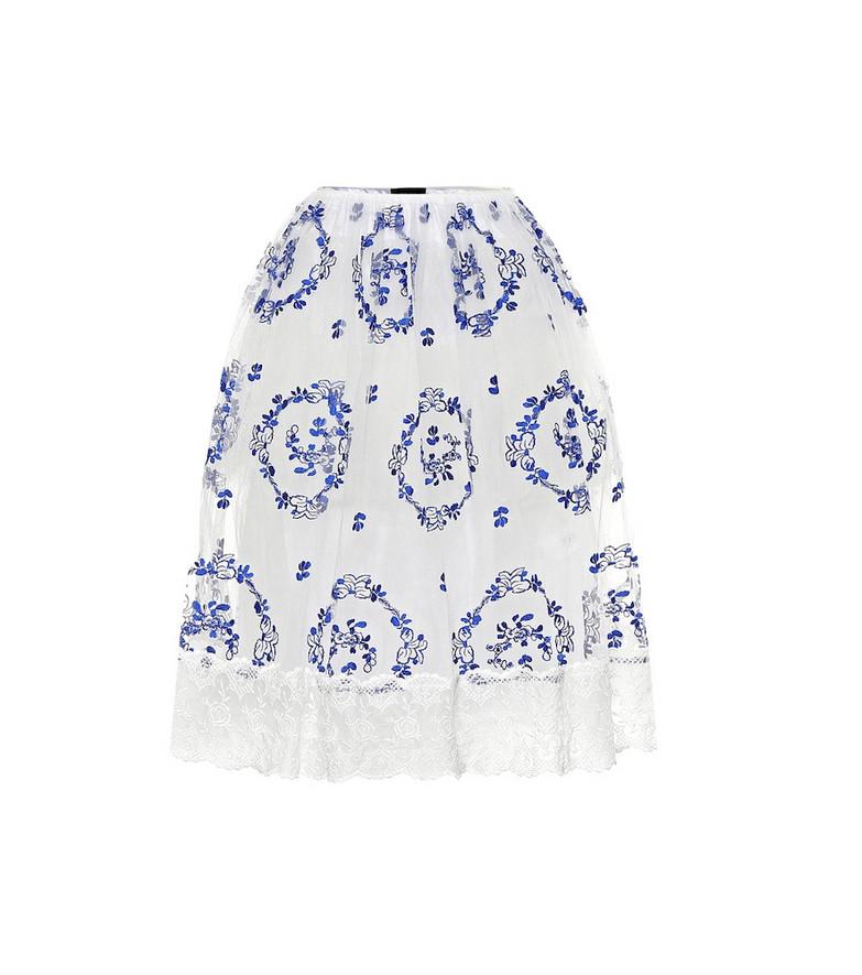 Simone Rocha Floral high-rise tulle skirt in white
