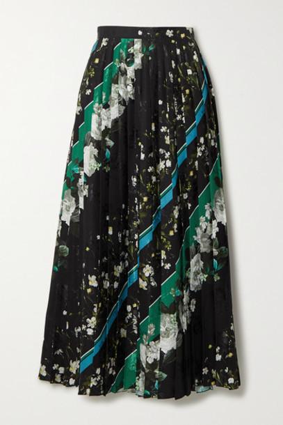 Erdem - Nolana Pleated Printed Floral-jacquard Midi Skirt - Black