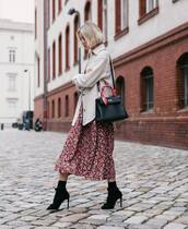 jacket,wool jacket,midi dress,red dress,floral dress,socks,black sandals,black bag