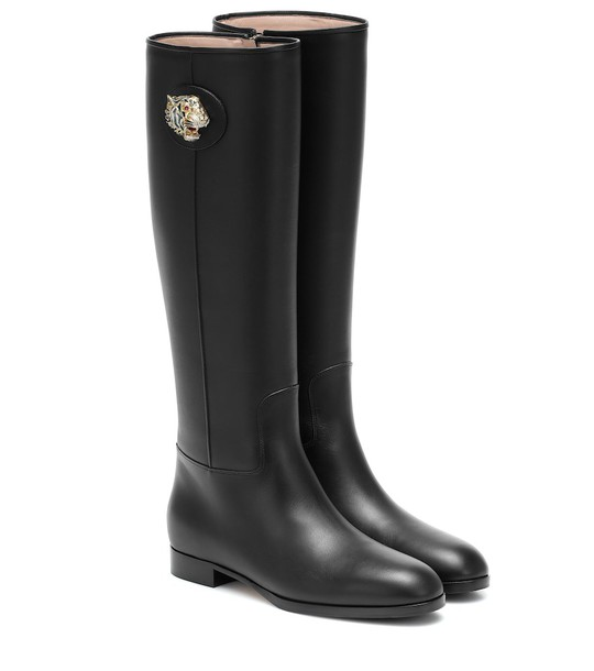 Gucci Leather knee-high boots in black