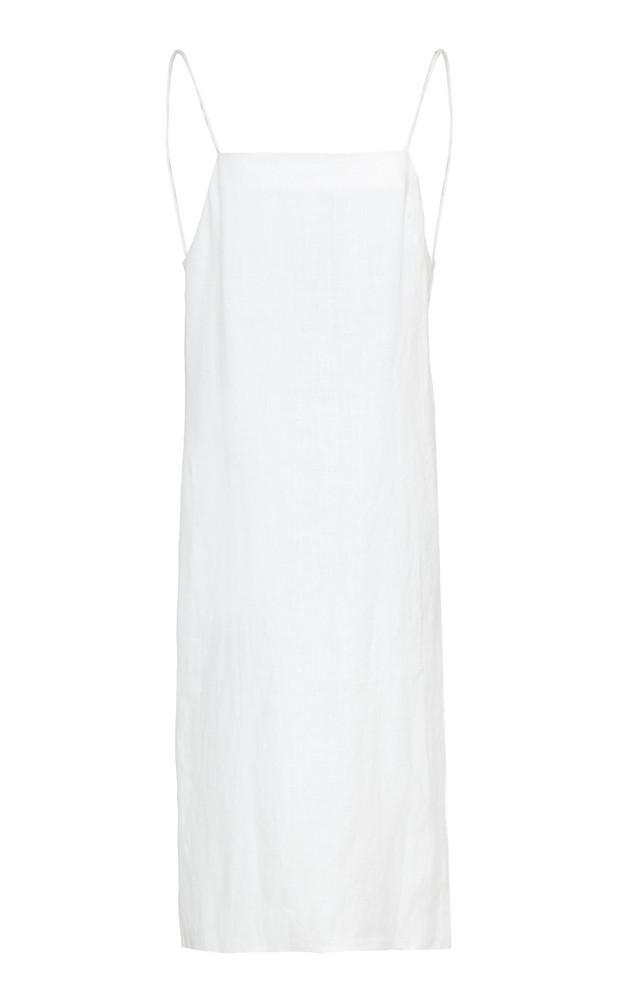 Matin Linen Shift Dress Size: 6 in white