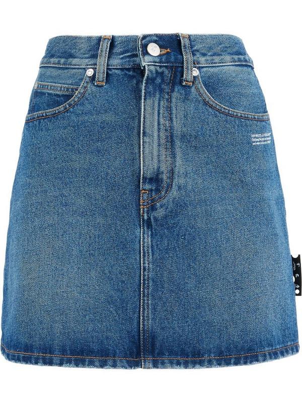 Off-White logo print denim skirt in blue
