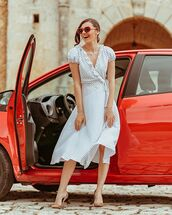 dress,white dress,polka dots,short sleeve dress,wrap dress,pumps