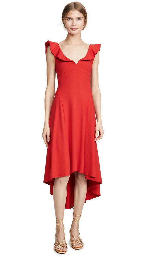 Susana Monaco Ruffle Strap Cutout Dress in red