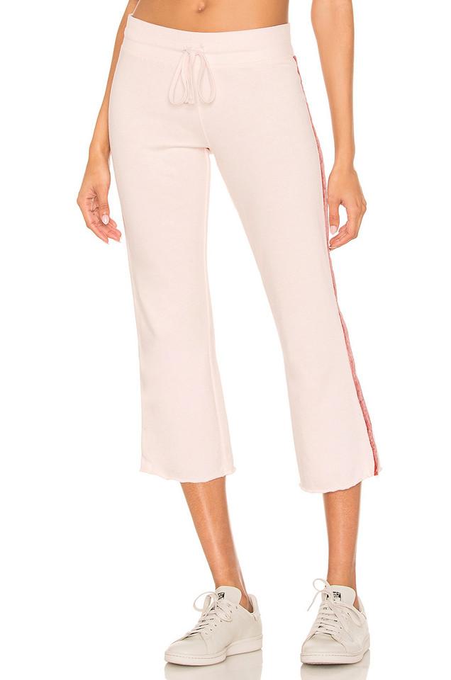David Lerner Crop Flare Lounge Pant in pink