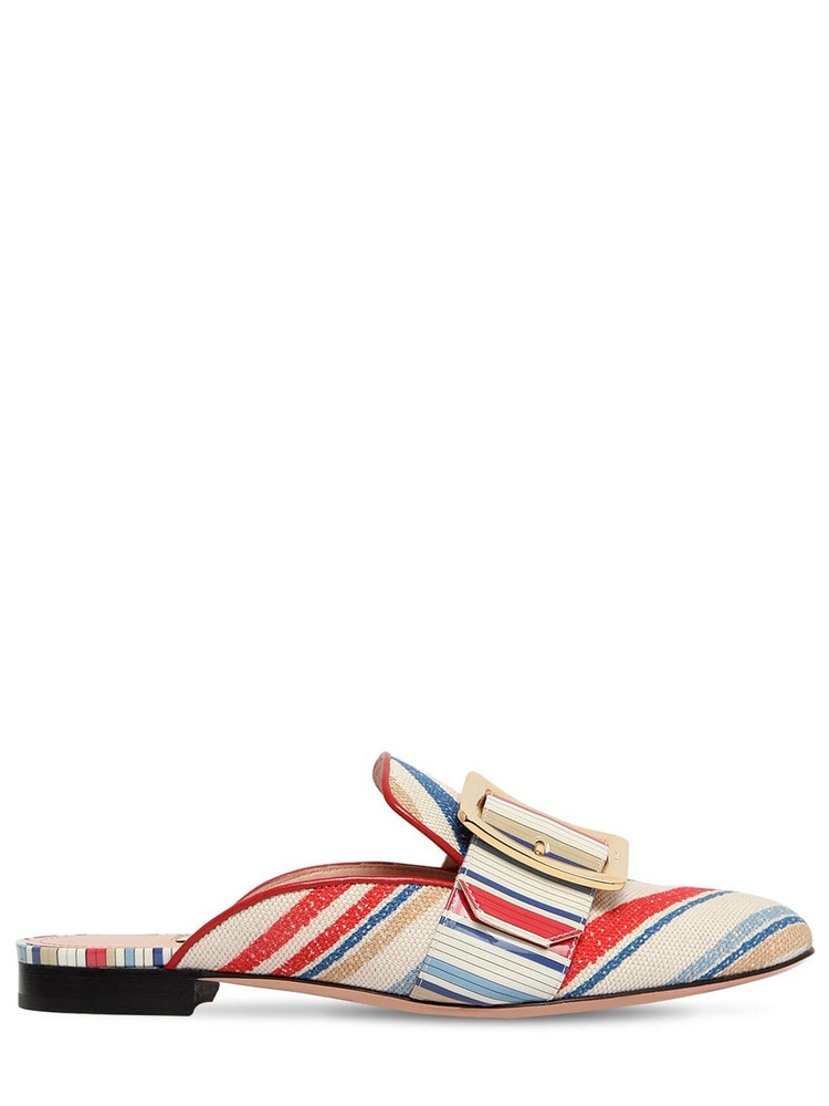 BALLY 10mm Janesse 30 Cotton Canvas Mules in white / multi