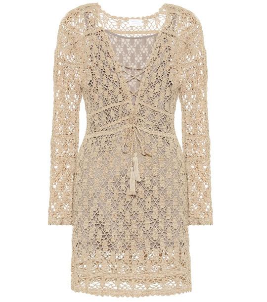 Anna Kosturova Crochet cotton minidress in beige