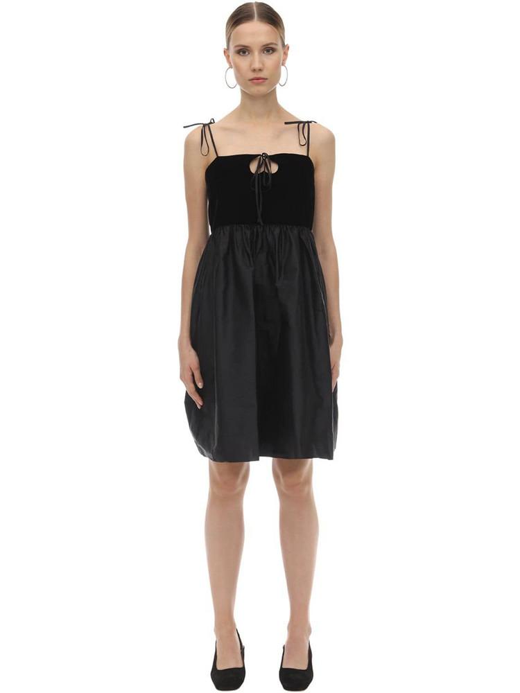 GEORGE KEBURIA Heart Cutout Satin & Velvet Mini Dress in black